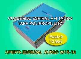 Oferta pack cuaderno Tauro A4